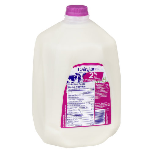 4 Litre JugPartly Skimmed MIlk  - Save On Foods Reserves the Right to Limit Quantities
