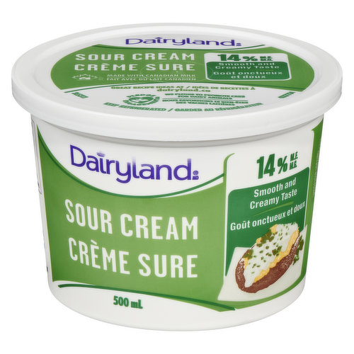 Smooth and Creamy Texture. With its delicious, tangy taste, Dairyland Sour Cream adds a creamy kick to your entrees, sauces and dips.