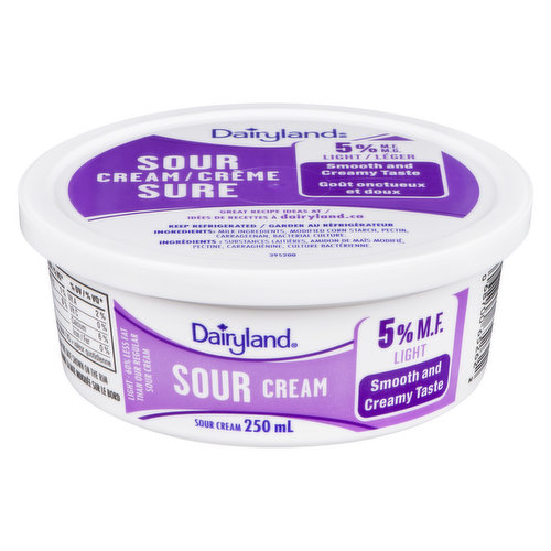 60% Less Fat than Our 14% M.F. Sour Cream. With its delicious, tangy taste, Dairyland Sour Cream adds a creamy kick to your entrees, sauces and dips.