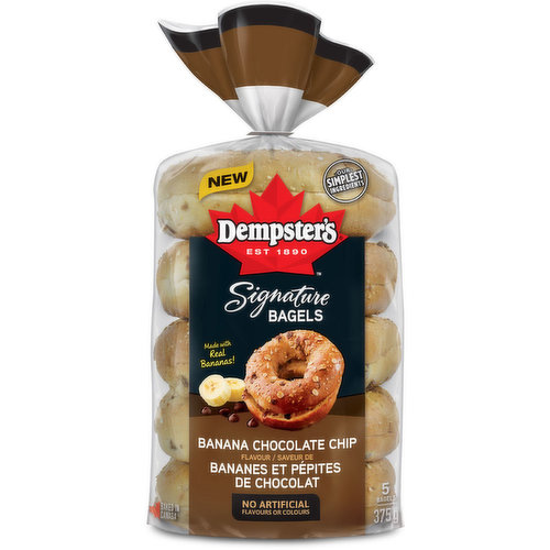 These signature bagels are made with real bananas and luscious chocolatey flavours topped with delicious oats for an indulgent experience. Enjoy these bagels toasted with your favourite spread or to make your own signature gourmet sandwich.<br />
