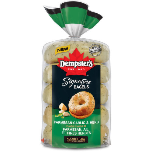 These signature Garlic & Herb Bagels are made with delicious parmesan and garlic flavours baked with real herbs for a truly savoury bagel experience.<br />Enjoy toasted with your favourite spread or to make your own signature gourmet sandwich.