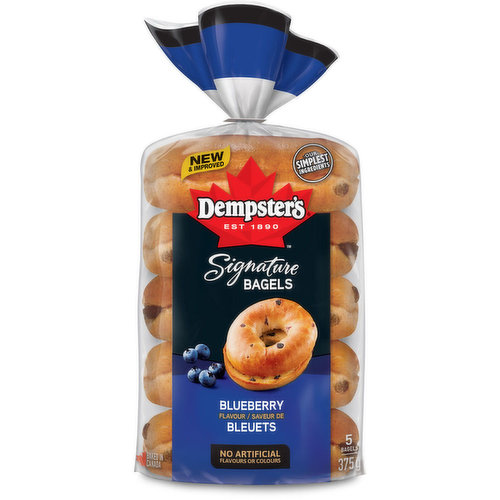 Wake up to the great taste of blueberries no matter what time of day or year it is! Now even better than ever with even more of that delicious blueberry flavour you crave.Enjoy these signature bagels toasted with your favourite spread or to make your own