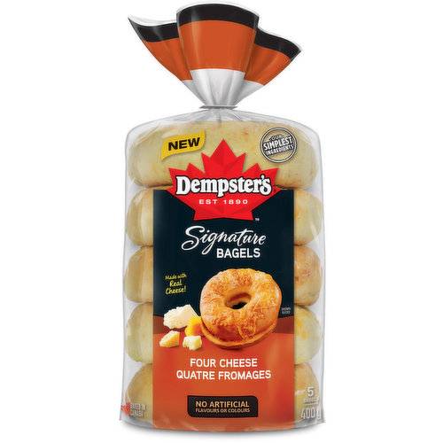 The savoury flavours of real cheese with a premium blend of parmesan, asiago, cheddar and mozzarella make the perfect backdrop to your most indulgent recipe ideas. Enjoy these signature bagels toasted with your favourite spread or to make your own signatu