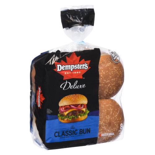 Enjoy Dempsters Classic Bun with any buger patty and toppings.