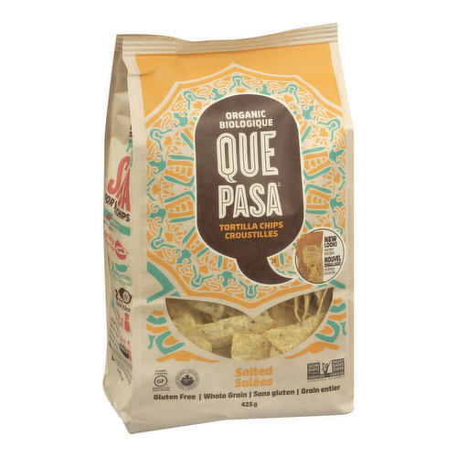 Stone-ground whole grain corn tortilla chips with just a touch of sea salt. Gluten Free, Whole Grain. Vegan, Non GMO.