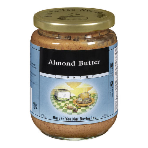 Nuts to You Crunchy Almond Butter is made with nothing but dry-roasted almonds. Yummy!  Dry-roasted almonds.  May contain traces of peanuts and other nuts.