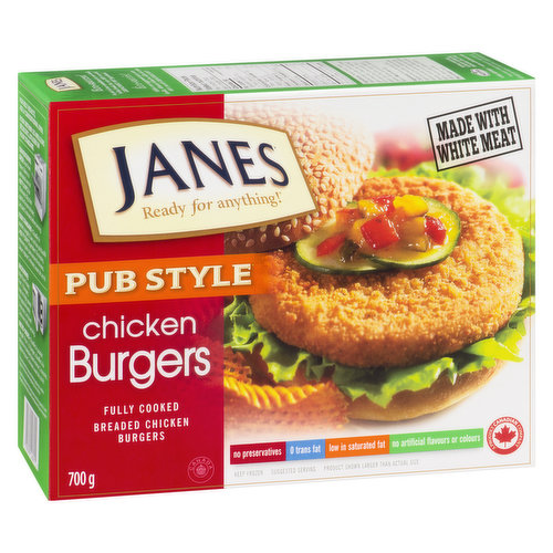Frozen, Fully Cooked Breaded Chicken Burgers. Made with White Meat. No Preservatives, 0 trans fat, Low in Saturated Fat, No Artificial Flavours or Colour