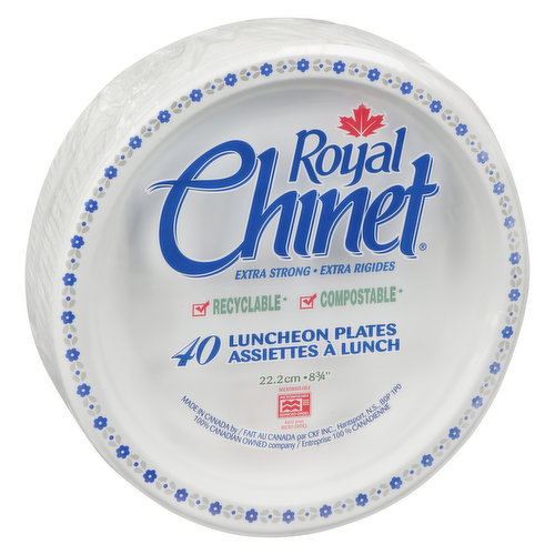 """Recyclable, Biodegradable, Compostable. Premium Strength. 22.2cm, 83/4"""". Made in Canada."""