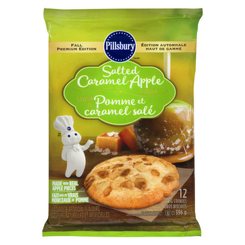 Made with real apple pieces. Natural and artificial flavours. 12 big cookies. Available While Quantities Last.