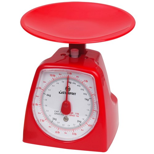 This kitchen scale is perfect to measure dry or wet ingredients and is simple to use! Capacity : 5 kg / 11 lbs. Graduations : 25 g / 1oz.