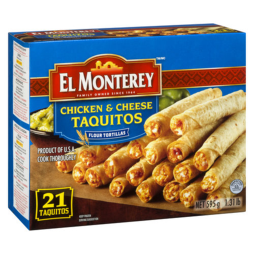 Frozen. Ready in just minutes, these frozen chicken and cheese taquitos include flavorful chicken, Monterey Jack cheese, and authentic Mexican spices in a crispy flour tortilla.