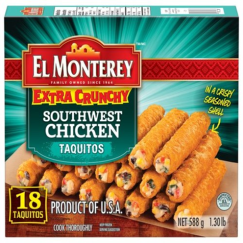 Frozen. This protein packed snack is filled with savoury chicken, three kinds of cheese, flavourful black beans, and peppers in a crispy seasoned shell. Ready in just minutes!