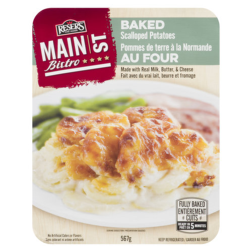 A rich & creamy baked casserole of tender potatoes topped with golden-brown cheddar cheese. Fully baked.