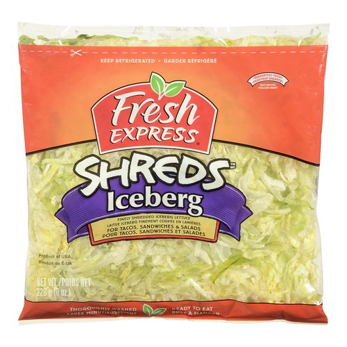 Finely Shredded Iceberg Lettuce For Tacos, Sandwiches & Salads. Thoroughly Washed and Ready to Eat.