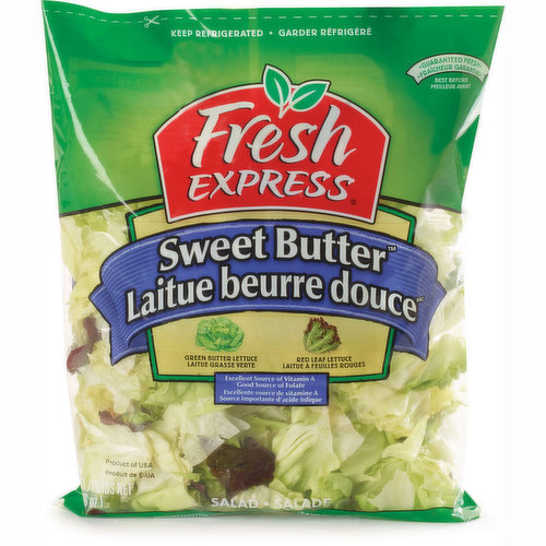 Mix of Green Butter Lettuce and Red Leaf Lettuce. Excellent Source of Vitamin A and Good Source of Folate.  Thoroughly Washed, Ready to Eat. No Preservatives.
