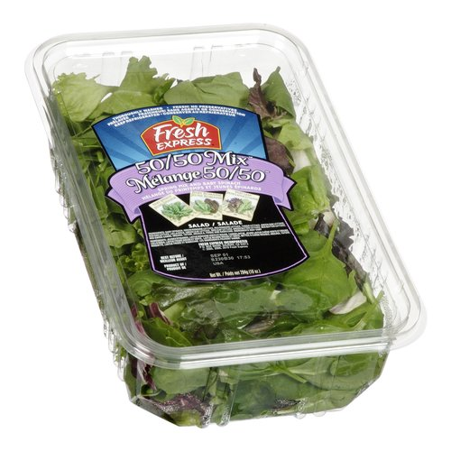 Spring Mix, Baby Spinach. Guaranteed Fresh. Fresh Rinse: Thoroughly Washed, Ready to Eat. No Preservatives.