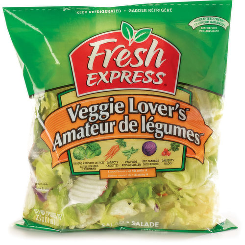 Iceberg & Romaine Lettuce, Carrots, Pea Pods, Red Cabbage and Radishes.  Thoroughly Washed, Ready to Eat. No Preservatives.