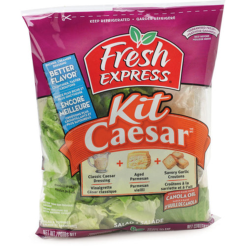 Toss up a classic favorite with crisp, chopped romaine & a delicious parmesan caesar dressing. Mix in savory croutons & sprinkle on cracked pepper & grated parmesan cheese for the ultimate salad! Dressing made with canola oil. Thoroughly washed & ready to eat.
