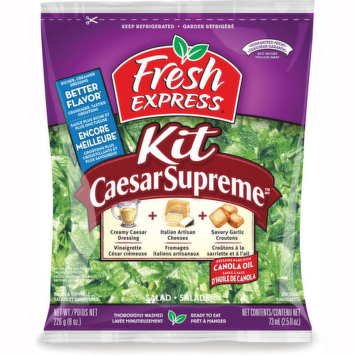 Kit Includes: Thoroughly Washed Romaine Leaves, Creamy Caesar Dressing, Italian Artisan Cheeses, Savoury Garlic Croutons. Dressing Made with Canola Oil. Richer Creamier Dressing.