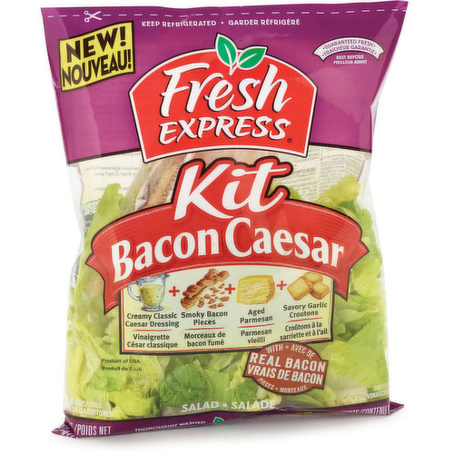 With Real Bacon Pieces,Creamy Classic Dressing, Aged Parmesan & Savoury Garlic Croutons.  Thoroughly Washed, Ready to Eat. No Preservatives.