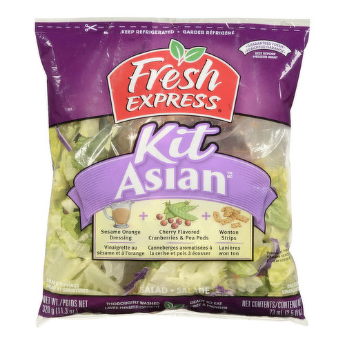 Kit Includes: Sesame Orange Dressing, Cherry Flavoured Cranberries & Pea Pods, Wonton Strips. Thoroughly Washed and Ready to Eat.