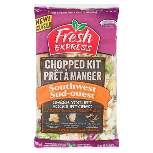 Enjoy a taste of the Southwest in your next salad. The Chopped Southwest Kit includes a blend of chopped, crisp red & green cabbage, fresh romaine lettuce, sweet carrots, green onions,as well as smoky Greek yogurt jalapeo ranch dressing, Mexican blend cheeses & crunchy tortilla strips. Throughly washed & ready to eat.