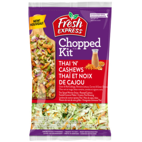 A combination of green & red cabbage, romaine lettuce, carrots & green onions. Comes with Thai spiced wonton strips & roasted cashews, toasted coconut flakes & creamy Thai dressing. Thoroughly washed.