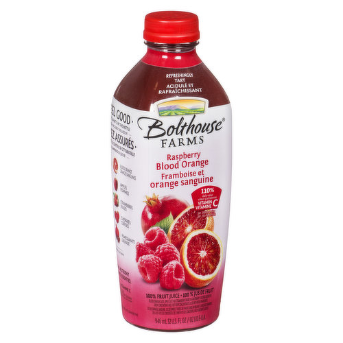 This uniquely delicious, antioxidant rich, crimson juice of the blood orange and ruby red raspberries is as delicious as healthy. This tastes different than any berry or orange juice you've ever had.