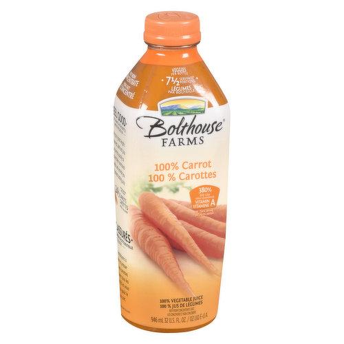 100% Carrot Juice with 7.5 Servings of Veggies per Bottle.