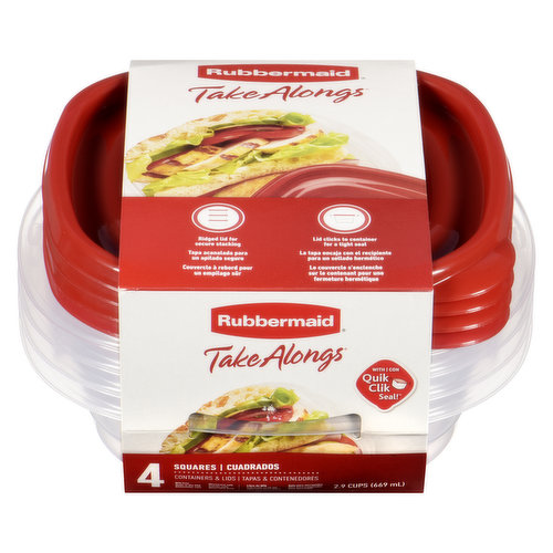Perfect size for single serve meals, sandwiches & more. Stackable containers, BPA free, freezer safe, top-rack dishwasher safe, & microwave safe (without lid). 4 2.5 cup containers.