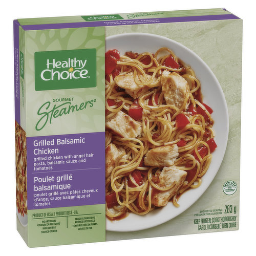 With Angel Hair Pasta, Tomatoes, Roasted Garlic, & Balsamic Sauce. Unique Duo Tray. No Artificial Flavours, High in Fibre, High in Fibre.