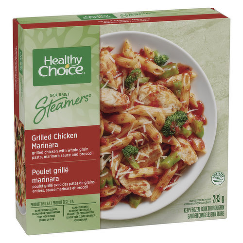 With Whole Grain Pasta, Broccoli & Marinara Sauce. Unique Duo Tray Steamcooker. No Preservatives, Very High in Fibre, High in Iron.