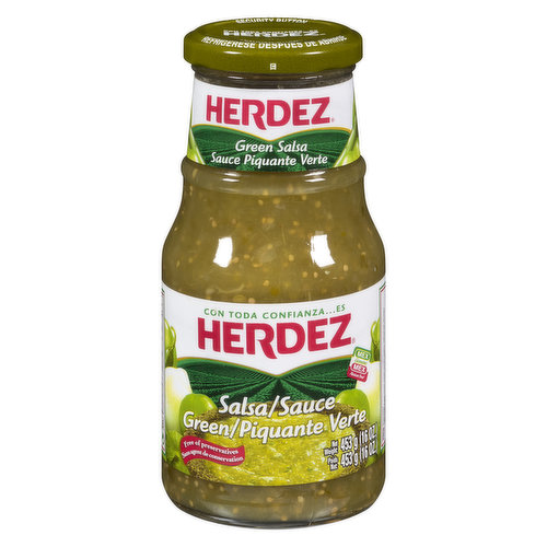 Free From Preservatives. Our unique and fruity Green Salsa is made with just five simple ingredients: freshly harvested green tomatillos, savory onions, spicy serrano peppers, salt and fresh cilantro.