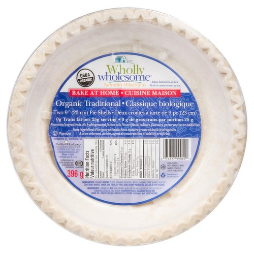 Two 9inch organic pie shells.0 trans fat per 25g serving. Made with no animal ingredients, no hydrogenated fats or oils, no artifical colours, flavours, preservatives or additives. 2X198g shells= 396g pack.