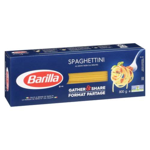 Barilla presents its world-beloved traditional Spaghetti recipe in a thinner version. Often used with seafood-based or oil-based sauces. Al dente in 5-6 minutes. Non-GMO. Italy's #1 brand of pasta!