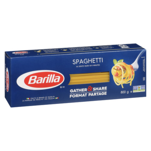Spaghetti is the most popular shape in Italy. It pairs well with just about any kind of sauce. Al dente in 8-9 minutes. Non-GMO. Italy's #1 brand of pasta!
