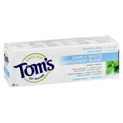 Natural Fluoride Free. Reduces Plaque, Whitening, Fresh Breath and Prevents Tartar