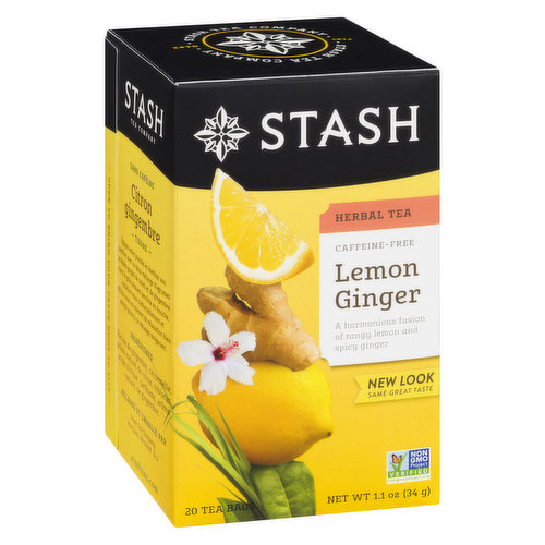 20 individually wrapped caffeine free tea bags.Ginger root, lemongrass, lemon flavor, safflower, hibiscus and citric acid.