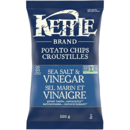 Kettle Chips Sea Salt and Vinegar Gluten Free Potato Chips. Delicious gluten free chips with the classic taste of salt and vinegar.Trans fat, lactose, and cholesterol free.