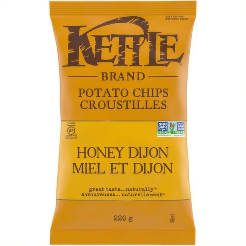 Great Taste.... Naturally. Kettle Chips Honey Dijon Gluten Free Potato Chips. A Savoury Taste of Honey Dijon with a Satisfying Crunch.