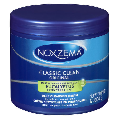 Noxzema Original Deep Cleansing Cream gives you clean, smooth skin with the classic Noxzema tingle. It reaches deep into pores to remove dirt, oil, and makeup, leaving your skin soft and smooth. Noxzema Deep Cleansing Cream is dermatologist tested, made with eucalyptus, soybean, and linseed oils.