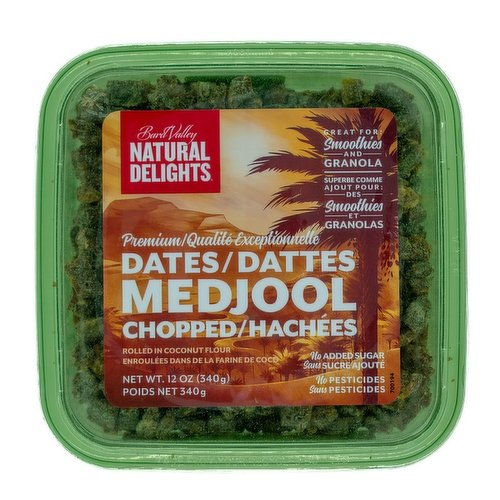 Boasting no added sugar, these are premium Medjool dates pre-chopped for easy cooking, quick mix-ins & toppers, or super easy delicious snacking. No pesticides.