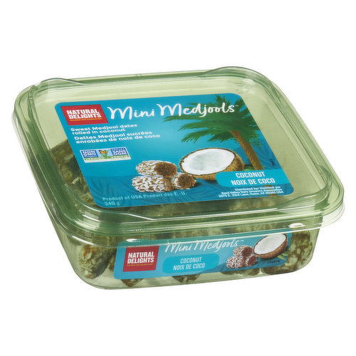 A naturally sweet treat you can enjoy any day of the week. Indulge without guilt as you bite into this moist date roll coated in light, yummy coconut flakes. Talk about a true afternoon pick-me-up! No added sugar. No pesdticides. High source of fibre.