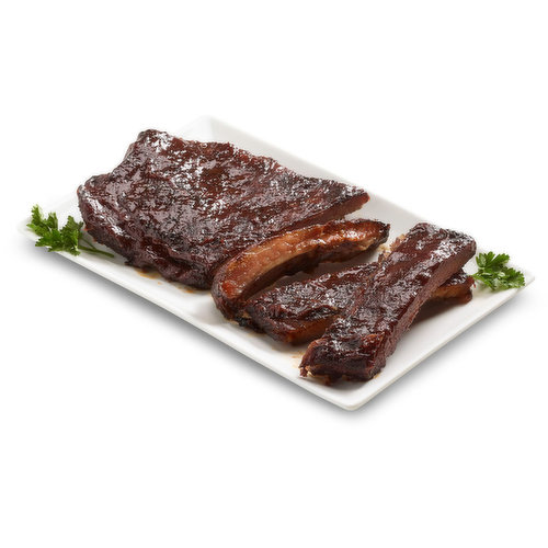 This  Rack of St. Louis Style Ribs is enhanced with the smooth warm flavour of Kentucky Bourbon Barbeque Sauce. This is a great portion size to grill on the BBQ or in the oven for a tender and flavourful experience.<br />