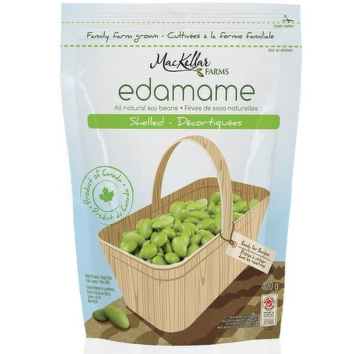 High Protein, High Fibre. All Natural Soy Beans. Edamame is Young, Tender, Soy Beans. Delicious Edamame, Grown in Canada! Ready for Recipes.