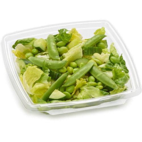 Romaine/Kale/Arugula/Cabbage Mix. Snap Peas, Cucumber slices, Edamame Beans, Pumpkin Seeds roasted & salted. Greek or Poppyseed Dressing