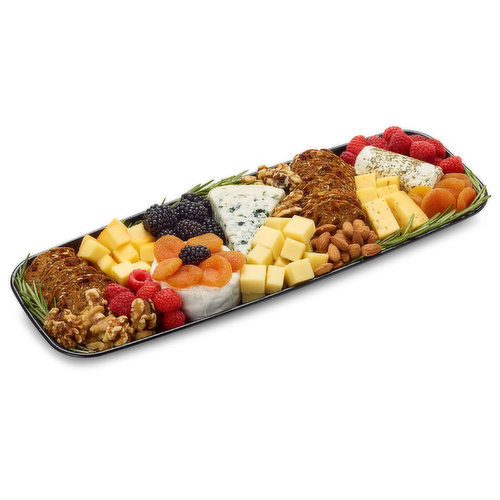 48 hour Prep Time Required for Party Platters. Limit 10 Per Order. Smoked Applewood Cheddar, Parmigiano Reggiano, Cave Aged Gruyere, Blue and Goat Cheese. With Fresh & Dried Fruit , Nuts.