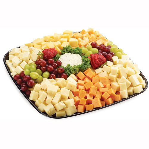 48 hour Prep Time Required for Party Platters. Limit 10 Per Order. Cube or Sliced Cheeses: Swiss, Marble, Cheddar, Havarti, Monterey Jack & Gouda. Also Herb Garlic Boursin Cheese & Fruit.
