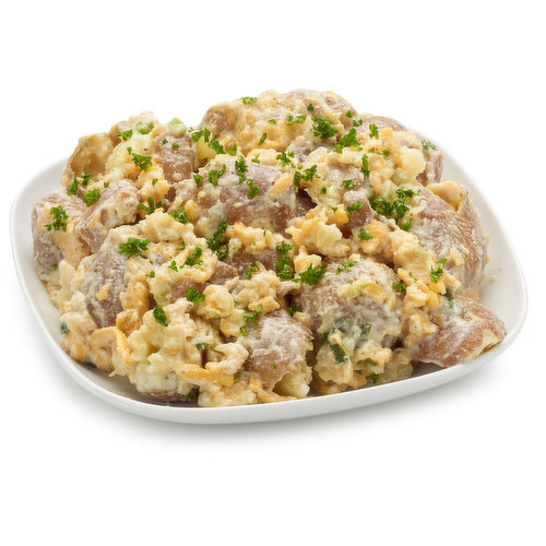 Smashed ed Prairie potatoes and cheddar cheese in a smoky ranch dressing. Choose from average weight per container: Sm- 250g, Md- 400g, Lg-625g.
