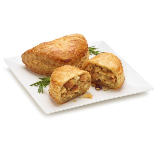 Homestyle stuffing, pulled turkey, rich turkey gravy and cranberries baked in a buttery puff pastry.
